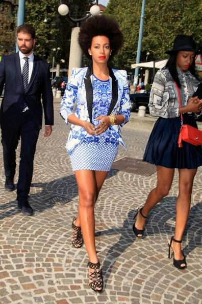 Solange Knowles Just Cavalli fashion show arrivals in Milan