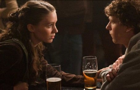 Erica Albright Rooney Mara as  and Jesse Eisenberg as Mark Zuckerberg in Columbia Pictures' 'The Social Network.'