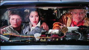 Claudia Wells Michael J. Fox,  and Christopher Lloyd in Back to the Future (1985)