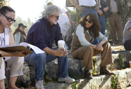 Marion Ravenwood Executive producer George Lucas (left) and Karen Allen (right) on the set of 'Indiana Jones and the Kingdom of the Crystal Skull.' Photo Credit: David James. ™ & © 2008 Lucasfilm Ltd. All Rights Reserved. Used under authorization.