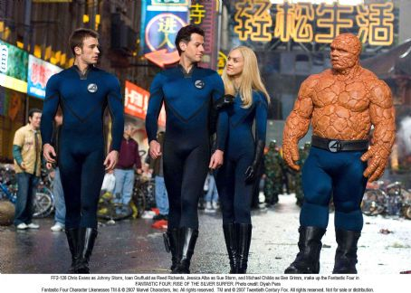Michael Chiklis Chris Evans as Johnny Storm, Ioan Gruffudd as Reed Richards, Jessica Alba as Sue Storm, and  as Ben Grimm, make up the Fantastic Four in FANTASTIC FOUR: RISE OF THE SILVER SURFER. Photo credit: Diyah Pera.