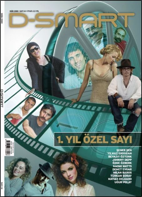Türkan Soray, Naomi Watts, Johnny Depp, Demet Evgar, Özge Özberk, Beyaz, Ugur Polat, Sener Sen, Yilmaz Erdogan - D-Smart Magazine Cover [Turkey] (October 2008)