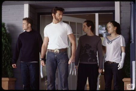 Rogue Shawn Ashmore as Iceman, Hugh Jackman as Logan, Aaron Stanford as Pyro and Anna Paquin as  in 20th Century Fox's X2: X-Men United - 2003