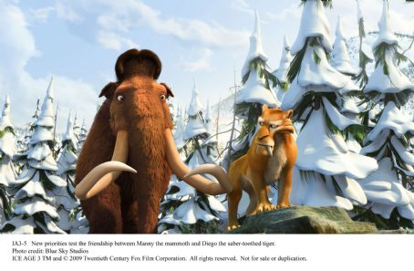New priorities test the friendship between Manny (Ray Romano) the mammoth and Diego (Denis Leary) the saber-toothed tiger. Photo credit: Blue Sky Studios. ©2009 Twentieth Century Fox Film Corporation. All rights reserved.