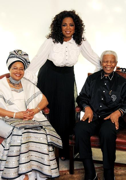 Nelson Mandela  and Graca Machel with Oprah Winfrey