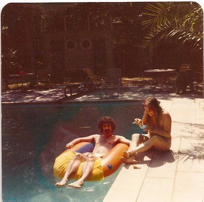 Gail Zappa Gail and Frank by the pool.
