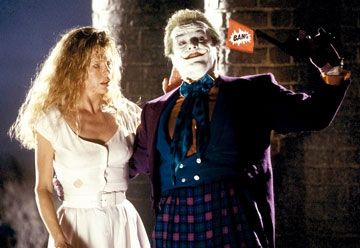 Joker Kim Basinger as Vicki Vale and Jack Nicholson as The  in Batman (1989).