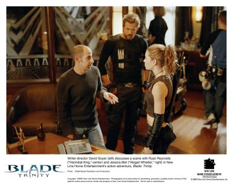 Abigail Whistler Writer-director David Goyer (left) discusses a scene with Ryan Reynolds ('Hannibal King,' center) and Jessica Biel (',' right) in New Line Home Entertainment's action-adventure, Blade: Trinity.