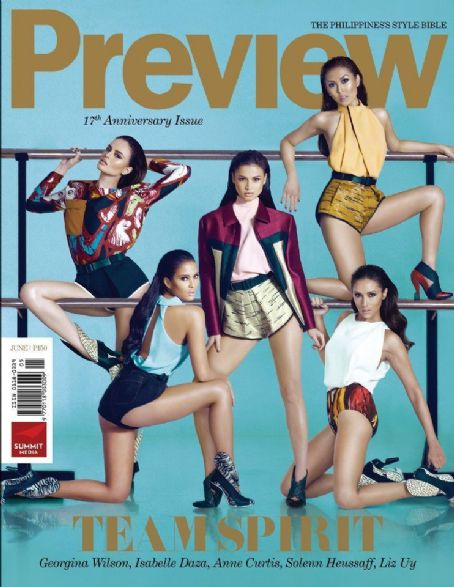 Solenn Heussaff, Anne Curtis, Georgina Wilson, Isabelle Daza, Liz Uy - Preview Magazine Cover [Philippines] (June 2012)