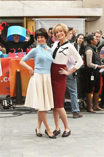 Savannah Guthrie Natalie Morales and  pose as Lavern and Shirley on the set of NBC's
