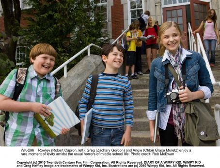 Diary of a Wimpy Kid Rowley (Robert Capron, left), Greg (Zachary Gordon) and Angie (Chloë Grace Moretz) enjoy a rare moment of levity amidst the usual horrors of middle school life. Photo credit: Rob McEwan