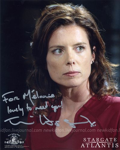 Torri Higginson  and autpgraph