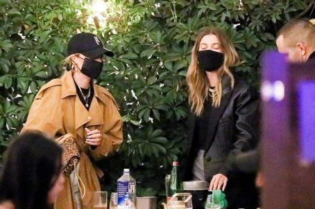 Hailey Bieber – Out with friends in Beverly Hills