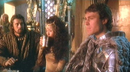 Guinevere Nigel Terry as Arthur,Cherie Lunghi as  and Nicholas Clay in Excalibur (1981)