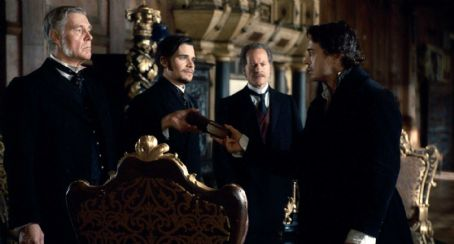 Hans Matheson - (L-r) JAMES FOX as Sir Thomas Rotheram, HANS MATHESON as Lord Coward, WILLIAM HOPE as Ambassador Standish and ROBERT DOWNEY JR. as Sherlock Holmes in Warner Bros. Pictures' and Village Roadshow Pictures' action-adventure mystery 'Sherlock Holm