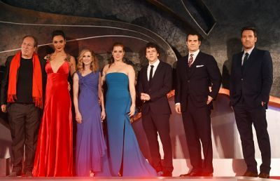 The composer Hans Zimmer, Gal Gadot, Holly Hunter, Amy Adams, Jesse Eisenberg, Henry Cavill and Ben Affleck attend the European Premiere of 'Batman V Superman: Dawn Of Justice' at Odeon Leicester Square on March 22, 2016 in London, England.