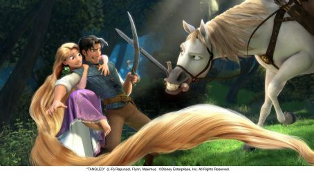 Rapunzel (L-R)  (Mandy Moore), Flynn (voiced by Zachary Levi), Maximus ©Disney Enterprises, Inc. All Rights Reserved.