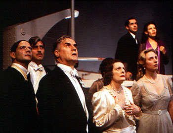 counter-clockwise from left) Campbell Scott, Alfred Molina, Billy Connolly, Dana Ivey, Hope Davis, Lili Taylor and Matt McGrath in The Impostors