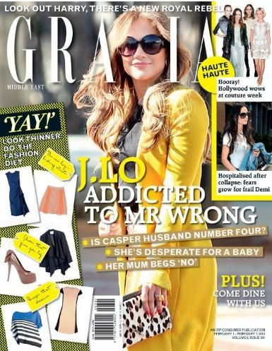 Jennifer Lopez - Grazia Magazine Cover [Iran] (1 February 2012)