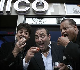 Deney Terrio Boston: From left to right: Danny Terrio, Nick Varano and Tiny Tavares celebrate the opening of Nico.