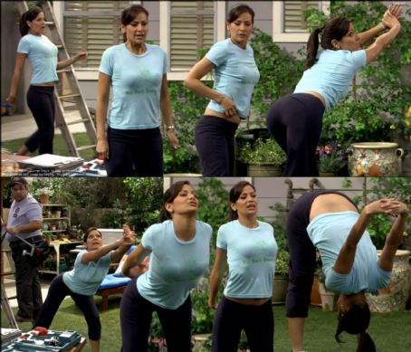 George Lopez Angie Lopez stretching to show off her body to their cable guy for free channels