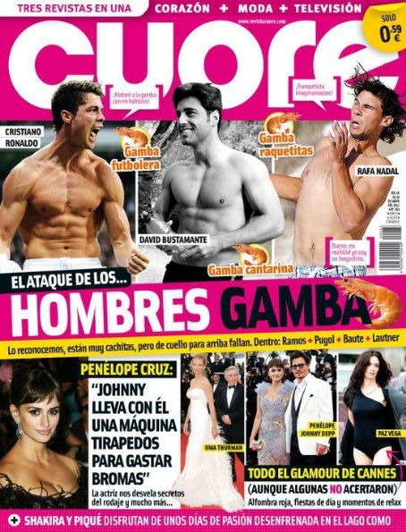 Rafael Nadal, David Bustamante, Cristiano Ronaldo - Cuore Magazine Cover [Spain] (18 May 2011)