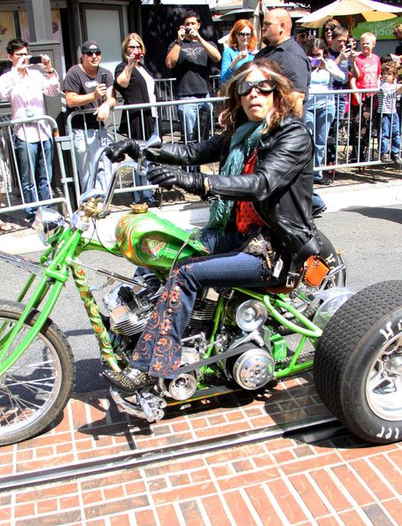 Steven Tyler arrives at the Grove in Los Angeles on a three wheeled motorcycle to announce Aerosmith's new album