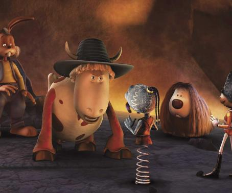 Doogal Dylan (voiced by Jimmy Fallon), Ermintrude (voiced by Whoopi Goldberg), Zeebad (voiced by Jon Stewart),  (voiced by Daniel Tay) and Solider Sam (voiced by Bill Hader) in The Weinstein Company's  - 2006