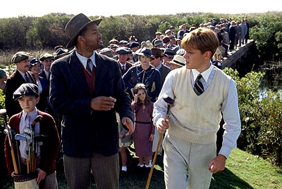 J. Michael Moncrief Bagger Vance (Will Smith) is a caddy that offers advice about more than the game to young golfer Rannulph Junuh (Matt Damon, right) with the help of his young protege Hardy (, left) in Dreamworks' The Legend of Bagger Vance - 2000
