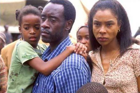 Don Cheadle  stars as Paul Rusesabagina in Terry George's Hotel Rwanda, also stars Nick Nolte and Joaquin Phoenix.