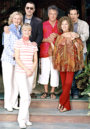 Blythe Danner From left to right are the Byrneses,  (Dina), Teri Polo (Pam) and Robert De Niro (Jack) and the Fockers, Dustin Hoffman (Bernie),  Barbra Streisand (Roz) and Ben Stiller (Greg).
