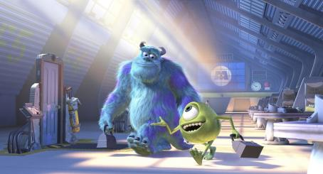 Monsters, Inc. Top Scarer James P. Sullivan (John Goodman), and his His Scare Assistant, best friend and roommate, Mike Wazowski (Billy Crystal) go about their business in Disney's  - 2001