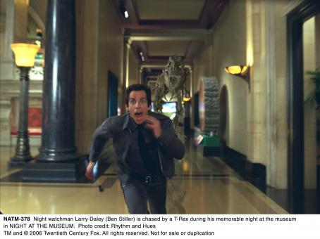 Night at the Museum Night watchman Larry Daley (Ben Stiller) is chased by a T-Rex during his memorable night at the museum in NIGHT AT THE MUSEUM. Photo credit: Rhythm and Hues. TM and © 2006 Twentieth Century Fox. All rights reserved.