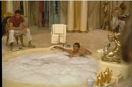 Steven Bauer  as Manny Ribera and Al Pacino as Tony Montana in Universal Studios Home Entertainment 'Scarface'