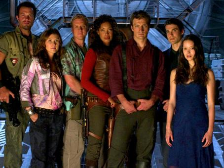 Nathan Fillion The Crew of Serenity - Jayne (Adam Baldwin), Kaylee (Jewel Staite), Wash (Alan Tudyk), Zoe (Gina Torres), Captain Mal Reynolds (), Dr. Simon Tam (Sean Maher) and River Tam (Summer Glau).