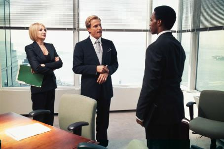 Ellen Barkin  as Margo (left), Woody Harrelson as Powell (center), Anthony Mackie as Jack