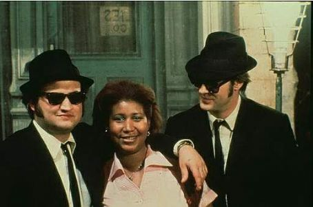 John Belushi Dan Aykroyd,  and Aretha Franklin in Universal's The Blues Brothers