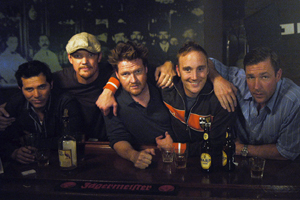 Matthew Lillard T.C. (John Leguizamo), Dez (),  Jimbo (Donal Logue), Cousin Mike (Jay Mohr) reunite at Dez's bar to send off the groom Pauli (Edward Burns) in Bauer Martinez's THE GROOMSMEN, written and directed by Edward Burns.