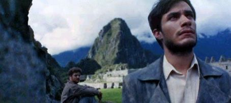The Motorcycle Diaries Gael Garcia Bernal as Ernesto Che Guevara and Rodrigo de la Serna as Alberto Granado in  - 2004