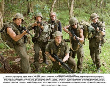 "Brandon T. Jackson (Left to right - front) Ben Stiller, Robert Downey Jr., Jack Black,  and Jay Baruchel play five actors shooting a war movie who get caught up in a real battle in the action comedy ""Tropic Thunder.""  Nick Nolte (center, rear)"