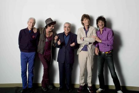 "Martin Scorsese (Left to right) Charlie Watts, Keith Richards, Director , Mick Jagger and Ronnie Wood backstage during filming of the Rolling Stones concert film ""Shine a Light."" Photo Credit: Brigitte Lacombe. © 2007 by Brigitte Lacombe. All R"