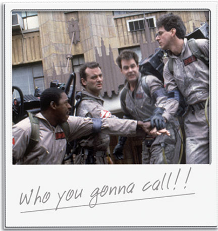Ernie Hudson  as Winston Zeddmore, Bill Murray as Dr. Peter Venkman, Dan Aykroyd as Dr. Raymond Stantz and Harold Ramis as Dr. Egon Spengler in Ivan Reitman's GHOST BUSTERS, Columbia Pictures release. © 1984