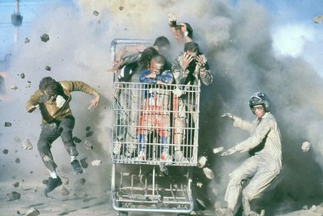 Jackass: The Movie (Left) Dave England, (right) Ehren McGhehey (in shopping cart beginning center clockwise) Jason 'Wee Man' Acuna, and Johnny Knoxville in Paramount's jackass: the movie - 2002