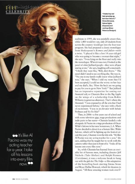 Jessica Chastain  - Elle Magazine Pictorial [Canada] (September 2011)