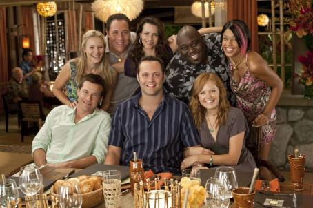 Jon Favreau (Clockwise from top left) KRISTEN BELL, JON FAVREAU, KRISTIN DAVIS, FAIZON LOVE, KALI HAWK, MALIN ACKERMAN, VINCE VAUGHN, and JASON BATEMAN in the upcoming comedy Couples Retreat, directed by PETER BILLINGSLEY and written by . Credit: John John