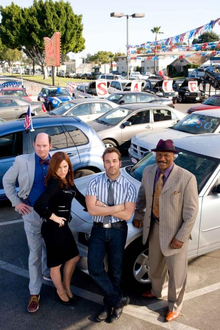 "David Koechner From L to R:  as ""Brent Gage"", Kathryn Hahn as ""Babs Marrett"", Jeremy Piven as ""Don Ready"", and Ving Rhames as ""Jibby Newsome"" star in ""The Goods: The Don Ready Story"", a Paramount"