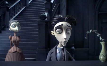 "Emily Watson Victoria, as voiced by EMILY WATSON, and Victor Van Dort, as voiced by JOHNNY DEPP, in Warner Bros. Pictures' stop-motion animated fantasy ""Tim Burton's Corpse Bride,"" also starring the voice of Helena Bonham Carter.Photo courtesy"