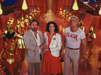 Melody Anderson Topol as Dr. Hans Zarkov,  as Dale Arden and Sam J. Jones as Flash Gordon in Universal Pictures' Flash Gordon.