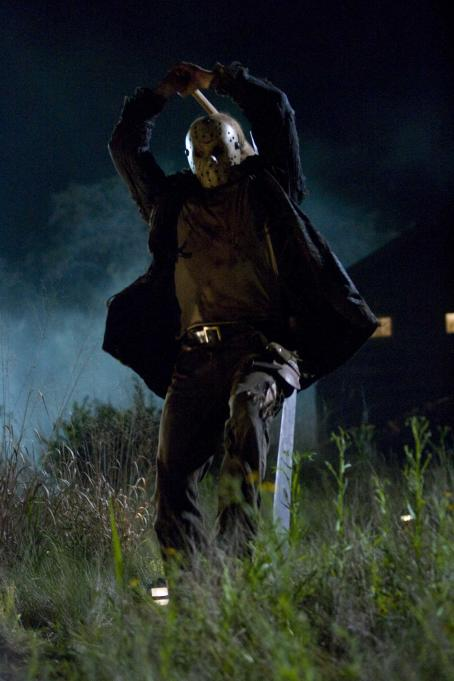 Friday the 13th Jason (DEREK MEARS) prepares to slash a victim in New Line Cinema's horror film ',' distributed by Warner Bros. Pictures. Photo by John P. Johnson