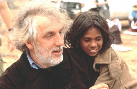 Director Phillip Noyce and Everlyn Sampi on the set of Miramax's Rabbit-Proof Fence - 2002